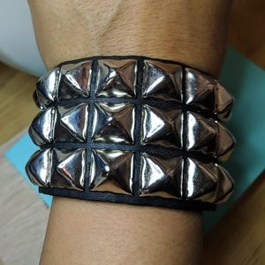 Jewelry - New Wide Black Leather Silver Stud Cuff Bracelet